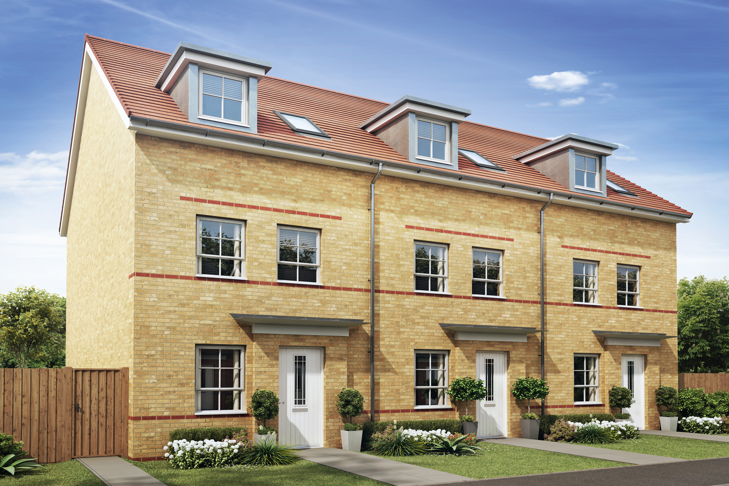 Barratt Homes, Kingsbrook, Canal Quarter, Aylesbury, Street scene, Norbury CGI