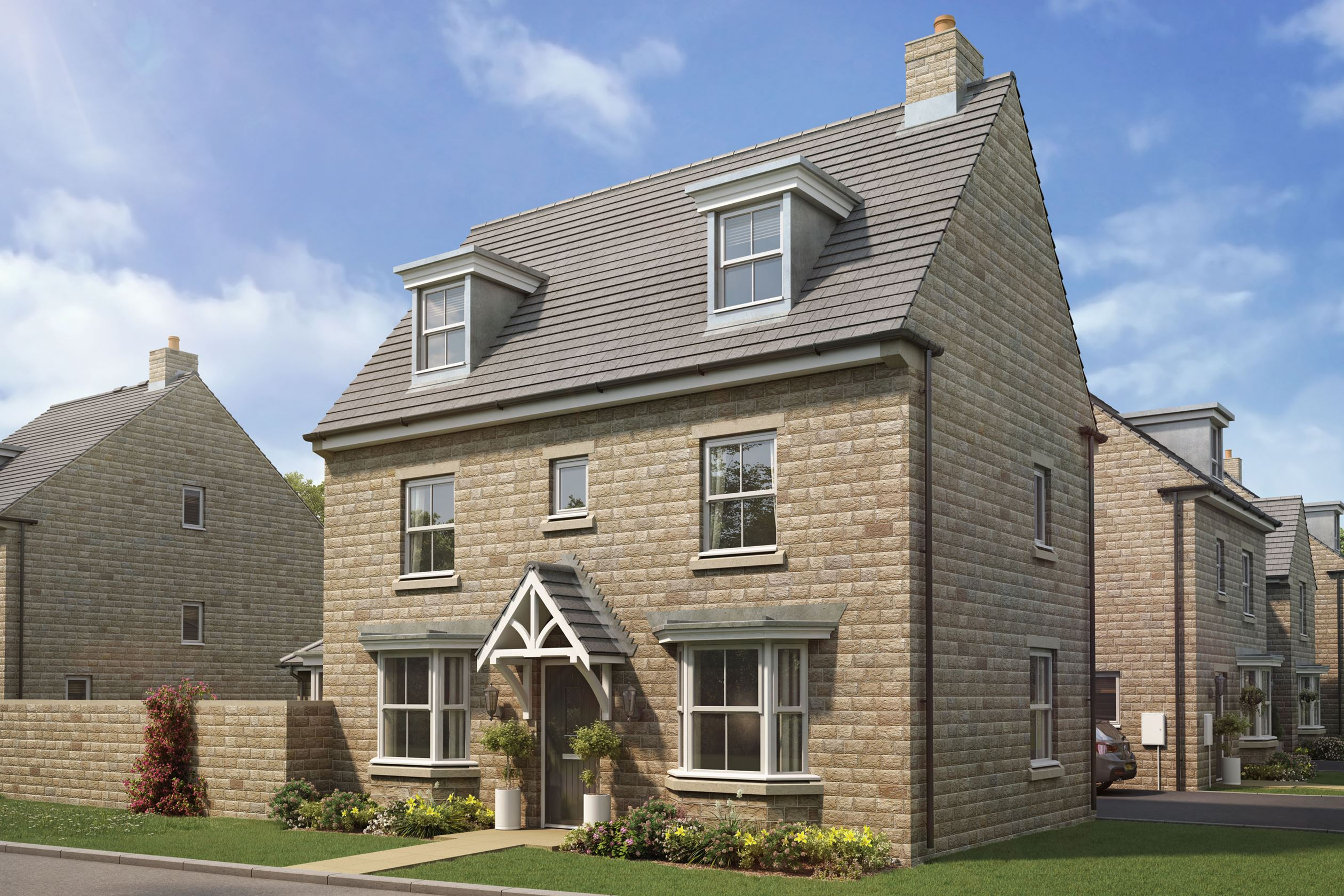 CGI image of Hertford style home with stone exterior finish