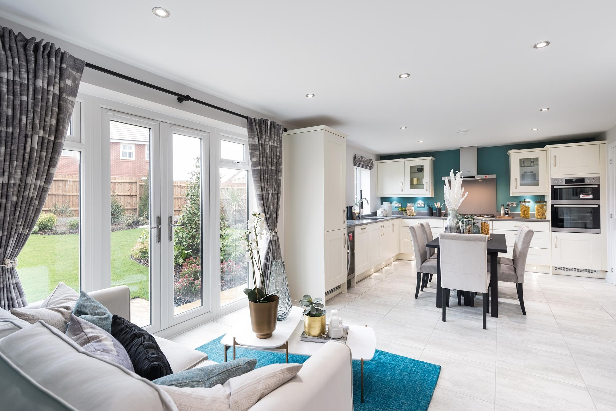 Lichfield open-plan kitchen with family/dining areas and French doors
