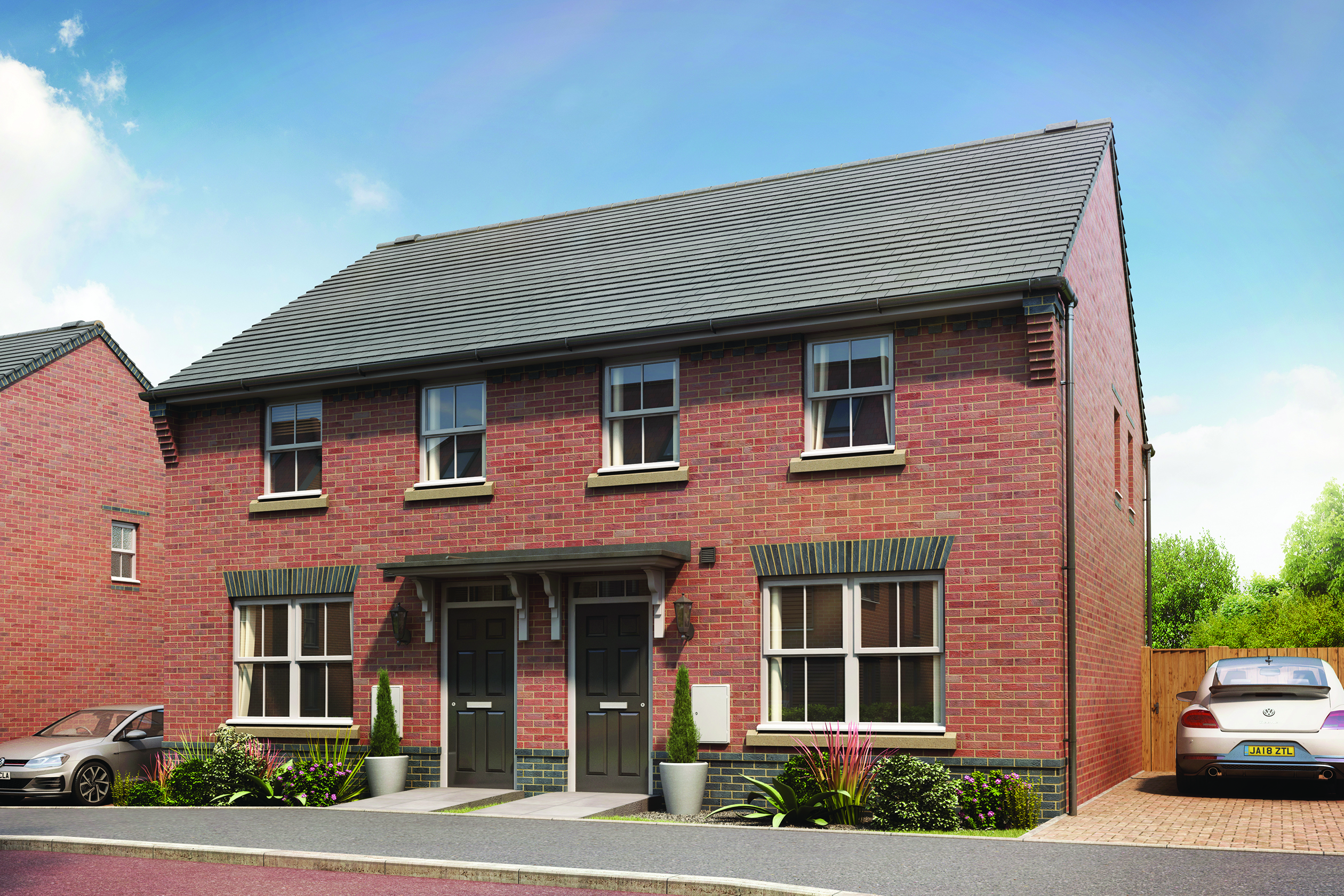 CGI of the outside view of the Archford 3 bedroom semi-detached home