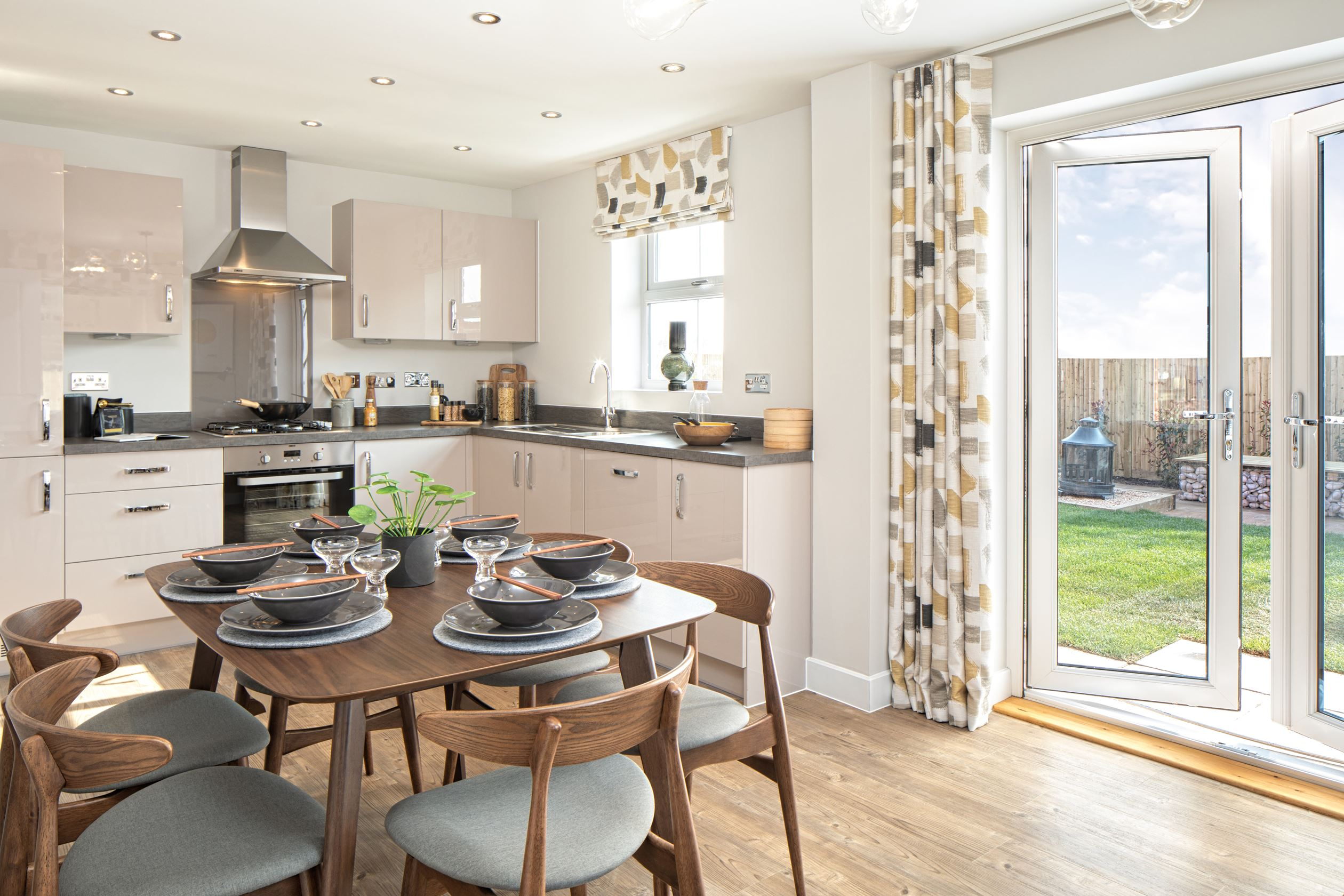 Kitchen/dining area and french doors to garden of the Hadley 3 bedroom home