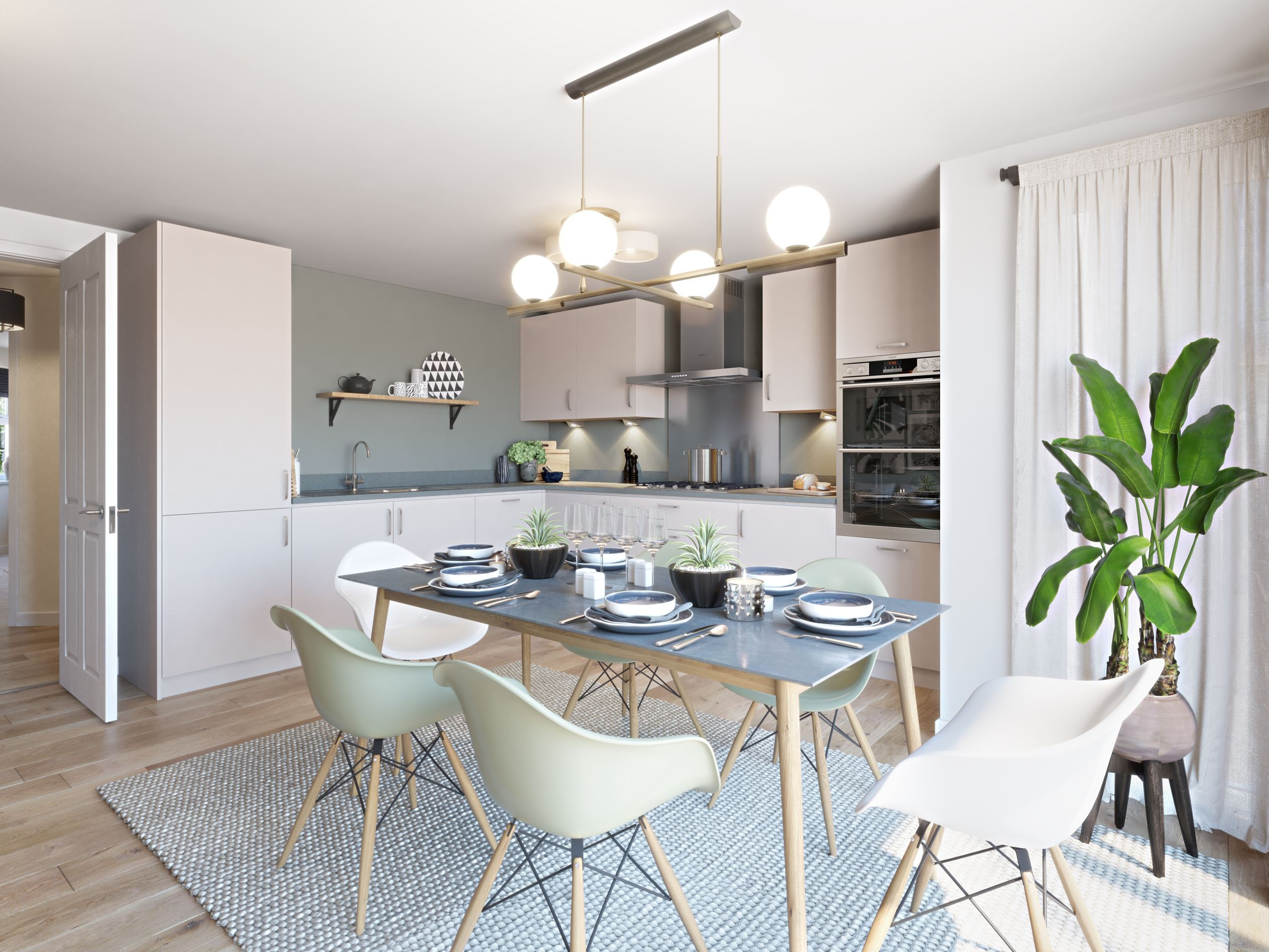 Kitchen and dining room in the Exeter, a 4 bedroom detached home