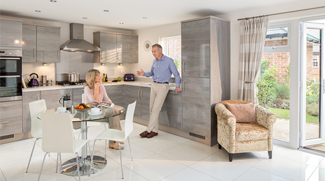 Couple in smart new kitchen